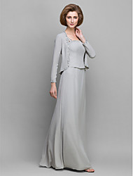 LAN TING BRIDE Sheath / Column Mother of the Bride Dress - Convertible Dress Floor-length Long Sleeve Chiffon with Beading