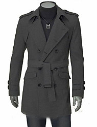 Men's Office / Career Formal Street High Quality Winter Fall Coat,Solid Color Peter Pan Collar Long Sleeve Regular
