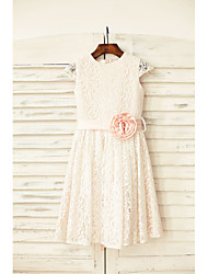 cheap -Sheath / Column Knee Length Flower Girl Dress - Lace Short Sleeves Jewel Neck with Sash / Ribbon Flower by LAN TING Express