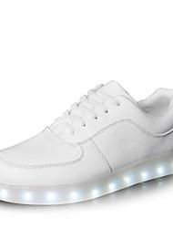 Feminino Masculino sapatos Courino Primavera Verão Outono Inverno Tênis com LED Cadarço Para Atlético Casual Festas & Noite Branco Preto