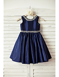cheap -A-Line Knee Length Flower Girl Dress - Taffeta Sleeveless Scoop Neck with Beading Sash / Ribbon by LAN TING Express