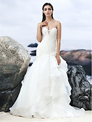 A-line Sweetheart Court Train Lace Organza Wedding Dress with Beading Appliques Tiered by LAN TING BRIDE®