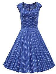 Недорогие -Жен. Изысканный и современный А-силуэт Платье - Горошек Милый, Старинный