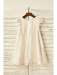cheap -Sheath / Column Knee Length Flower Girl Dress - Lace Short Sleeves Scoop Neck with Lace by LAN TING Express