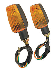 Pair Plastic Case Yellow LED Motorbike Turn Signal Indicator Lights for Motorcycle