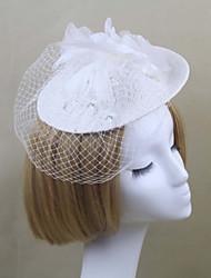 baratos -Mulheres Cetim Penas Rede Capacete-Casamento Ocasião Especial Chapéus Véus de Rede 1 Peça