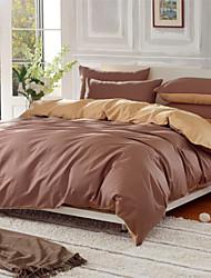 cheap -Duvet Cover Sets Solid 4 Piece 100% Cotton Reactive Print 100% Cotton 1pc Duvet Cover 2pcs Shams 1pc Flat Sheet