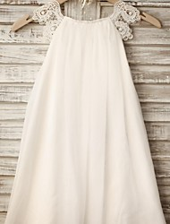 cheap -Sheath / Column Knee Length Flower Girl Dress - Chiffon Lace Sleeveless Scoop Neck with Pleats by LAN TING BRIDE®