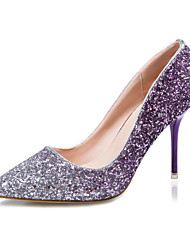 Women's Shoes Glitter Stiletto Heel Heels/Pointed Toe/Closed Toe Heels Dress Blue/Purple/Red/Gold