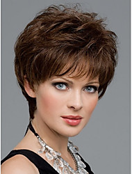 cheap -Women Nice short Natural Straight wig Stylish lady Brown synthetic hair wigs