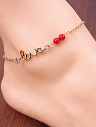 cheap -Women's Simple Red Bead Letters LOVE Chain Anklets