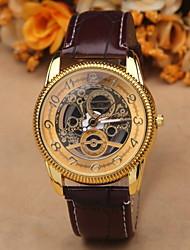 Masculino Relógio de Pulso Quartzo Gravação Oca Couro Banda Preta Marrom Prata Dourado Dourado-Preto Prateado-Preto