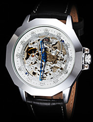 cheap -FORSINING® Men's Vintage Skeleton Auto Mechanical Leather Strap Watch Cool Watch Unique Watch