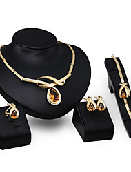 cheap -Women's Topaz Crystal Crystal Jewelry Set Rings 1 Pair of Earrings 1 Bracelet Necklace - For Wedding Party