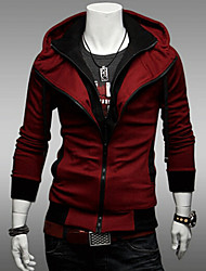 Men's Plus Size Daily Casual Hoodie Jacket Solid Cotton Polyester Long Sleeve Fall