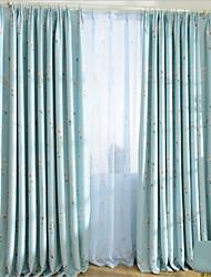Недорогие -Нанизать стержень занавески Люверс занавески Вешалка занавески Морщиться 2 шторы Окно Лечение Modern, С картинкой Гостиная Полиэстер
