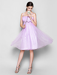 cheap -A-Line Spaghetti Strap Knee Length Chiffon Bridesmaid Dress with Beading / Draping / Ruched by LAN TING BRIDE®