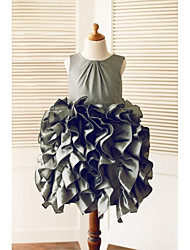 A-Line Knee Length Flower Girl Dress - Taffeta Sleeveless Scoop Neck with Buttons Cascading Ruffles by LAN TING BRIDE®
