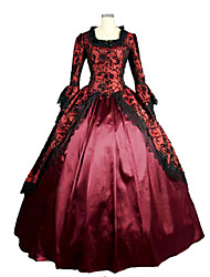 Medieval Victorian Costume Female Party Costume Masquerade Fuschia Vintage Cosplay Lace Satin Long Sleeves Poet