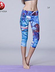 Yoga-Hose Leggins Hosen/Regenhose 3/4 Strumpfhosen/Corsaire Schnitt Unten Videokompression Leichtes Material Niedrig Dehnbar