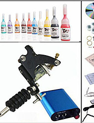 cheap -Tattoo Machine Professional Tattoo Kit 1 steel machine liner & shader High Quality Mini power supply 1 x aluminum grip 10 Classic Daily