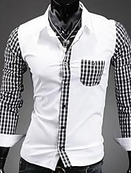Недорогие -Мужской В клетку Рубашка На каждый день,Хлопок,Длинный рукав,Синий / Белый