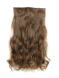 24 Inch 120g Long Curly Light Brown 5 Clip In Hair Extensions Heat Resistant Synthetic Fiber