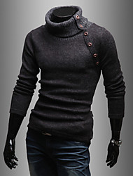 Men's Casual/Daily Simple Regular Pullover,Solid Turtleneck Long Sleeves Cotton Polyester Winter Medium Stretchy