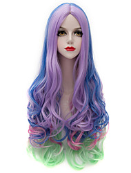 Eye Catching Colorful Mixed Purple/Blue/Green Long Wavy U Part Harajuku Purecas Vogue Cosplay Party Women Synthetic Wigs