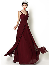 cheap -Floor-length Chiffon Bridesmaid Dress A-line Straps with Flower(s) / Criss Cross / Split Front