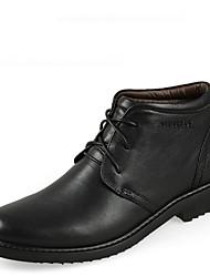 Недорогие -Муж. обувь Кожа Осень Зима Удобная обувь Ботинки 5.08-10.16cm Сапоги до середины икры Черный Коричневый