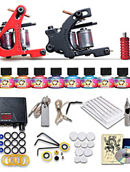 cheap -Tattoo Machine Starter Kit 2 cast iron machine liner & shader LCD power supply 2 x stainless steel grip 10 pcs Tattoo Needles