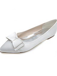 cheap -Women's Shoes Satin Spring Summer Flat Heel Bowknot for Wedding Party & Evening White Pink Silver Blue Purple