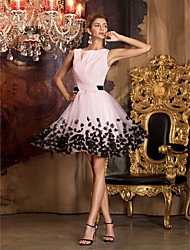 cheap -A-Line Jewel Neck Short / Mini Chiffon Tulle Homecoming / Prom Dress with Flower by TS Couture®