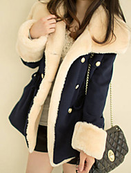 cheap -Women's Basic Coat-Color Block,Fur Trim