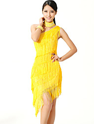 Shall We Latin Dance Dresses Women Performance Polyester / Lycra One-shoulder Tassel(s) 3 Pieces