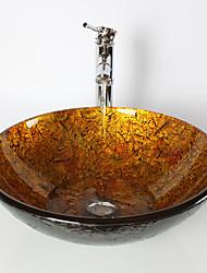 abordables -Moderno Redondo material del disipador es Vidrio Templado Lavabo de Baño Grifería de Baño Anillo de Montura de Baño Drenaje de Baño