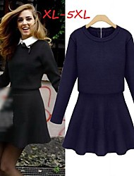 cheap -Women's Solid Blue/Black Plus Size Dresses , Casual/Work Shirt Collar Long Sleeve