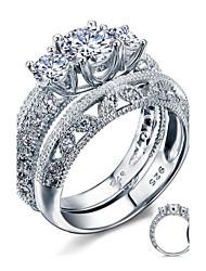 Mulheres Anéis de Casal Elegant Prata de Lei Zircônia Cubica Pena Prateado Redonda Jóias de fantasia Casamento Festa Diário Casual