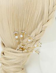 imitação de pérola strass liga de cabelo pino cabeça estilo elegante