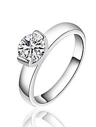 Dámské Prsten imitace Diamond Základní design Postříbřené Round Shape Šperky Pro Svatební Párty Zvláštní příležitosti Narozeniny Zásnuby