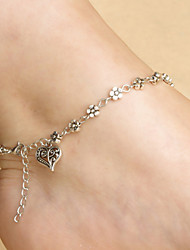 cheap -Heart - Women's Silver Screen Color Classic Vintage Cute Party Work Casual Love Simple Style Heart Alloy Anklet For