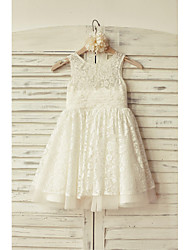 A-Line Knee Length Flower Girl Dress - Lace Tulle Sleeveless Scoop Neck with Lace by thstylee