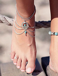 cheap -Layered Anklet Barefoot Sandals - Turquoise Drop Unique Design, Vintage, Party Screen Color For Party / Birthday / Gift / Bikini