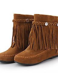 preiswerte -Damen Schuhe Nubukleder Winter Herbst Schneestiefel Stiefel Runde Zehe Booties / Stiefeletten Niete Quaste für Normal Schwarz Braun Rot