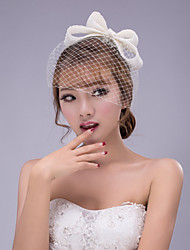 cheap -White  Bowknot Lace Headband for Party