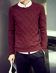 cheap -Casual Regular Pullover,Solid Round Neck Long Sleeve Knitwear