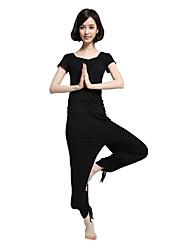baratos -Mulheres Roupas de Yoga - Preto Esportes Moderno Modal Conjuntos de Roupas Pilates, Exercício e Atividade Física, Corrida Manga Curta