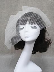 Véus de Noiva Duas Camadas Véu Ruge Véu para Cabelo Curto Corte da borda 11,81 cm (30cm) Tule Branco Marfim