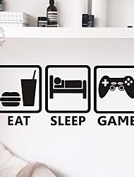 cheap -Cartoon / Fashion / Leisure Wall Stickers Plane Wall Stickers EAT SLEEP GAME PVC Wall Stickers